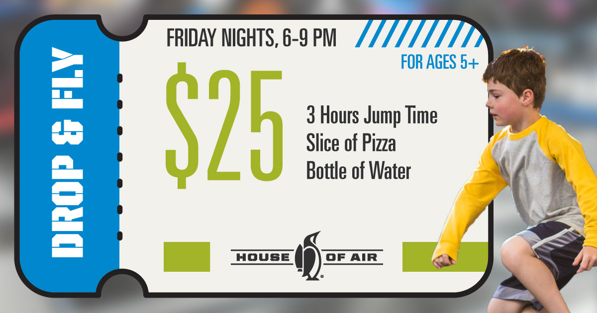 House Of Air Crowley, indoor trampoline park, Drop & Fly on Friday nights